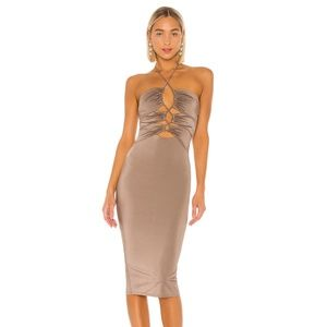 NEW Michael Costello Gavriele Dress Brown S D79